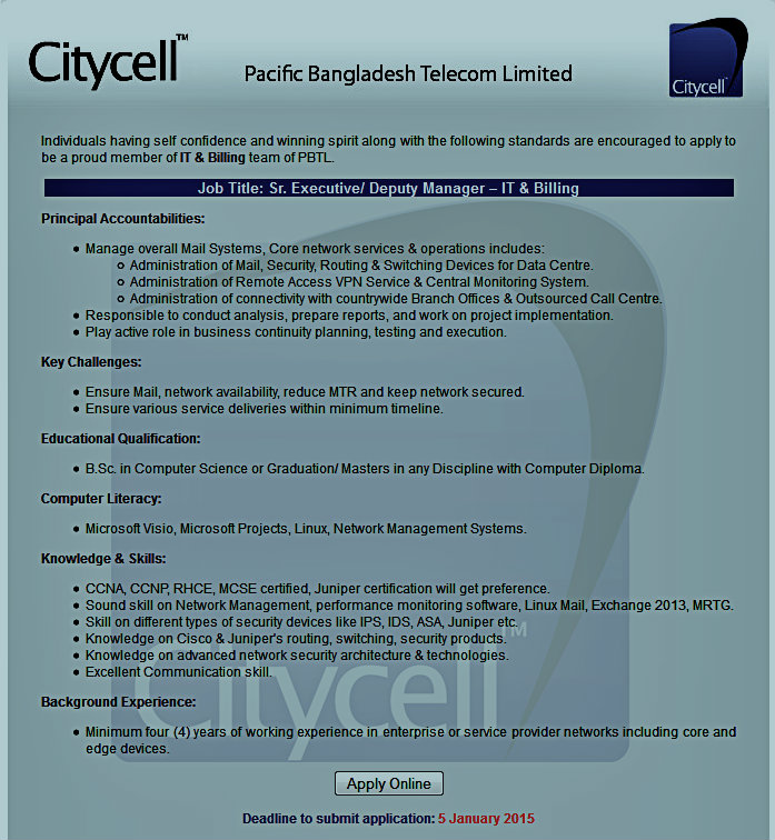 citycell it  billing circular