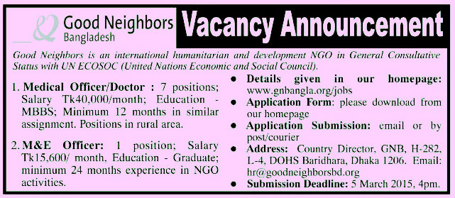 Good Neighbors job circular