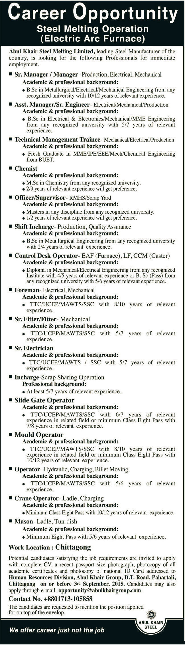 Abul Khair Steel Melting Limited Job Opportunity