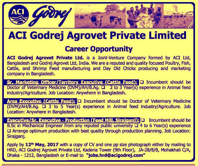 ACI Godrej Agrovet Private Limited Job Circular